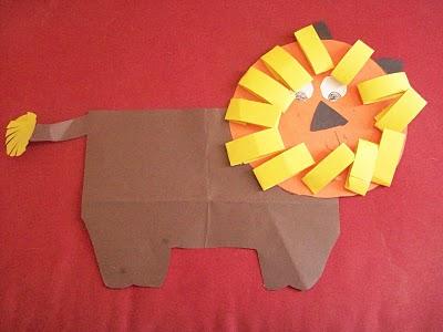 детская поделка из цветной бумаги животные лев