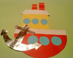 Аппликация из бумаги кораблик