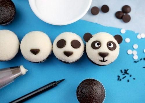 """Оформление детских тортов - Креативные кексы """"Панда"""" (10)"""