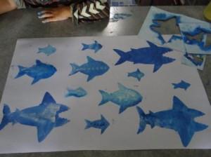 Рисунок акулы - морские трафареты (5)