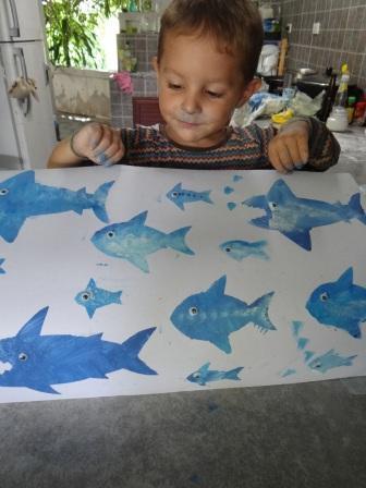 Рисунок акулы - морские трафареты (3)