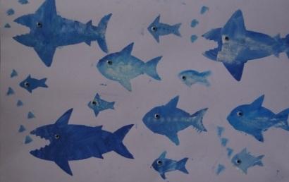 Рисунок акулы - морские трафареты (1)