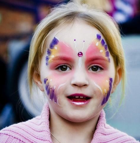 Детский грим - раскрасить лицо на Хэллоуин (3)