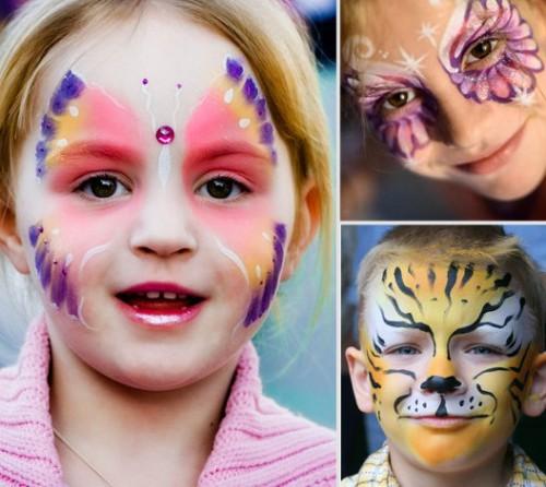 Детский грим - раскрасить лицо на Хэллоуин (1)