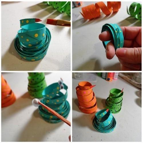 Как сделать змею из бумаги (4)