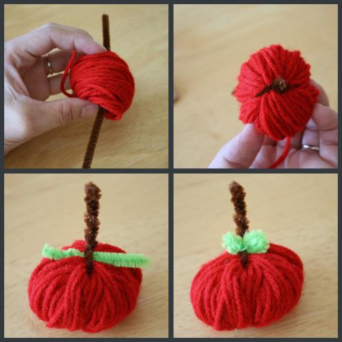 Поделка из пряжи - Детская поделка яблоко (4)