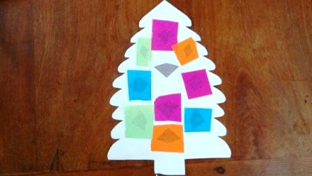 Украшение окон на новый год - Поделка ёлка (8)