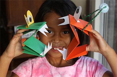 Монстр из бумаги - поделки оригами для детей (8)