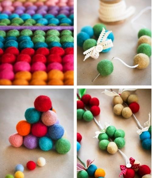Новогодние игрушки из войлока - самодельные украшения (1)