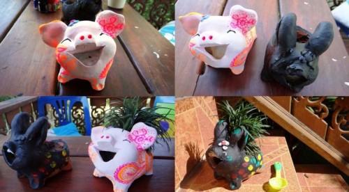 Совместное творчество с ребенком - украшение горшка (3)
