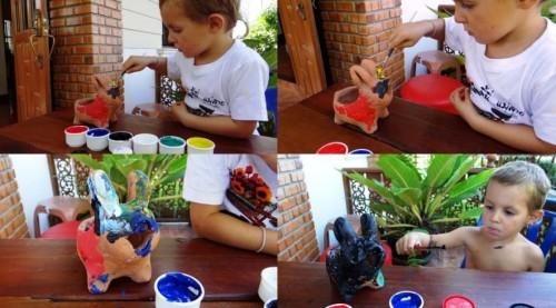 Совместное творчество с ребенком - украшение горшка (2)