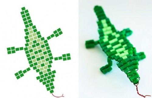 Схема кулона из бисера - как плести из бисера крокодила (1)