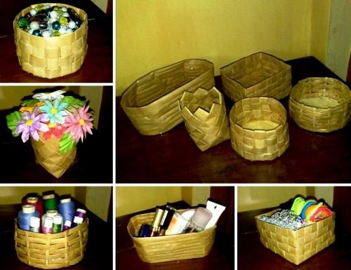 Корзины из бумаги - плетение корзин (2)