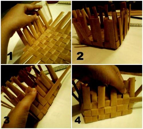 Корзины из бумаги - плетение корзин (5)