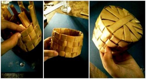 Корзины из бумаги - плетение корзин (11)