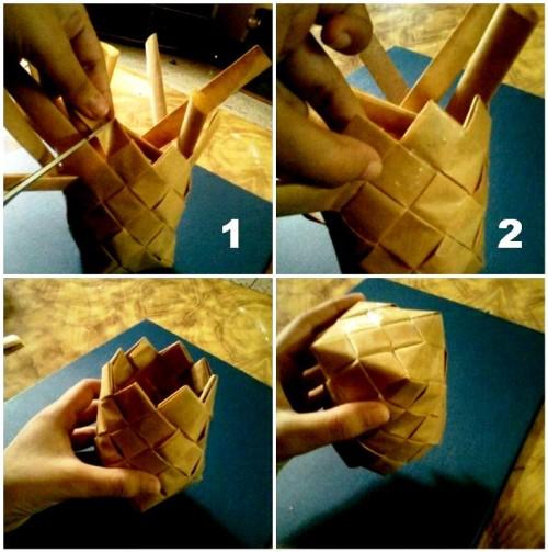 Корзины из бумаги - плетение корзин (18)