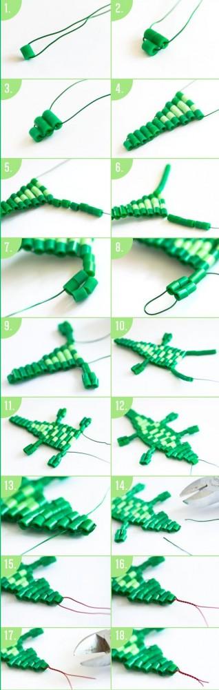 Схема кулона из бисера - как плести из бисера крокодила (5)
