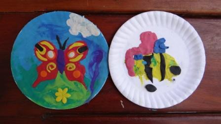 Бабочка из пластилина - поделки из бумажной тарелки (1)