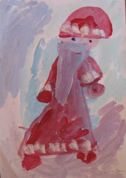 Как нарисовать Деда Мороза - Новогодние рисунки детей от 4 до 6 лет (1)