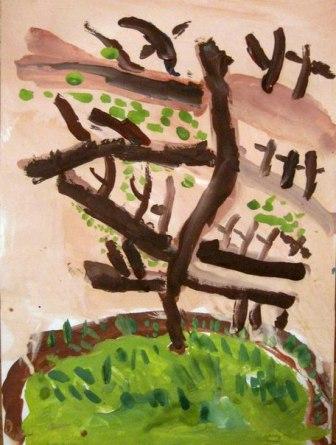 Рисование от 4 до 7 лет ДЕРЕВО РАСТЕТ История такая: в сказочной стране пустыня стала разрастаться, а это жара, сушь, ни воды ни тенечка. Решили сказочные жители пустыню в лес превратить, но сами не справляются. Если каждый хотя бы по одному дереву вырастит,так и пустыня отступит. (2)