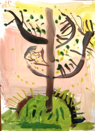 Рисование от 4 до 7 лет ДЕРЕВО РАСТЕТ История такая: в сказочной стране пустыня стала разрастаться, а это жара, сушь, ни воды ни тенечка. Решили сказочные жители пустыню в лес превратить, но сами не справляются. Если каждый хотя бы по одному дереву вырастит,так и пустыня отступит. (1)