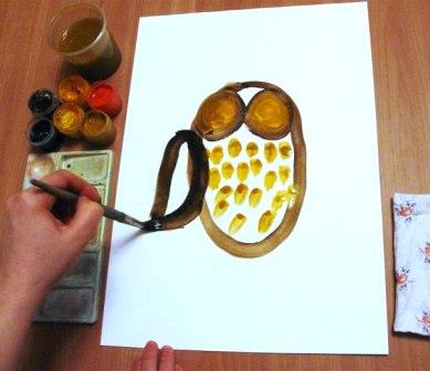 Как нарисовать сову - уроки рисования гуашью (6)