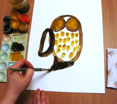 Как нарисовать сову - уроки рисования гуашью (5)