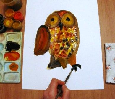 Как нарисовать сову - уроки рисования гуашью (4)
