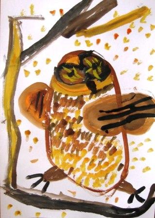 Как нарисовать сову - уроки рисования гуашью (1)