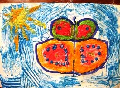 Рисование пальчиками - Бабочка красками (8)