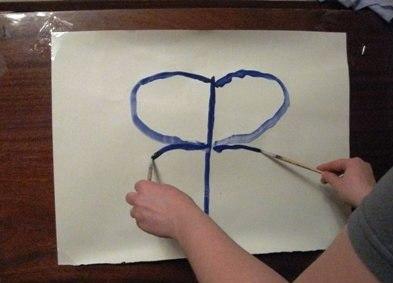 Рисование пальчиками - Бабочка красками (6)
