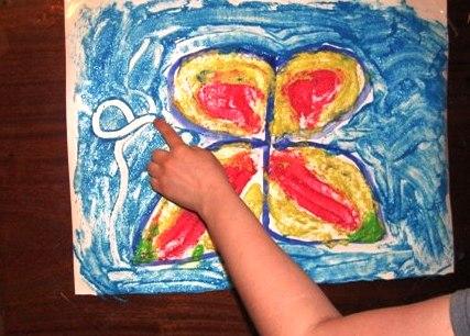 Рисование пальчиками - Бабочка красками (4)