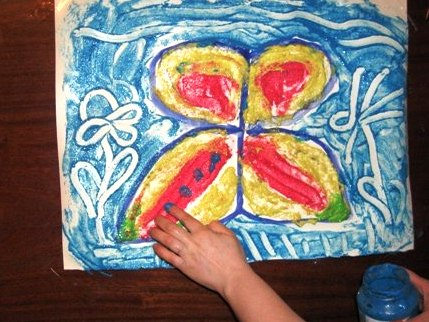 Рисование пальчиками - Бабочка красками (3)