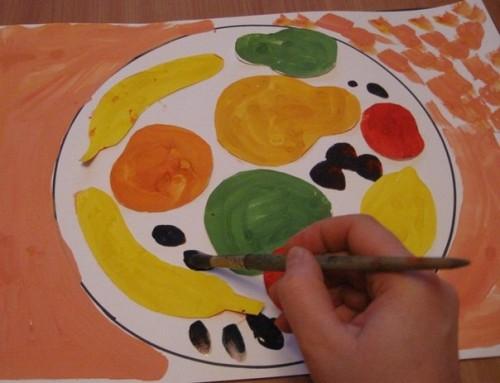 Тарелка с фруктами - Рисование от 3 до 5 лет (4)