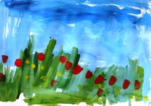 Уроки рисование гуашью для детей. Поляна с цветами