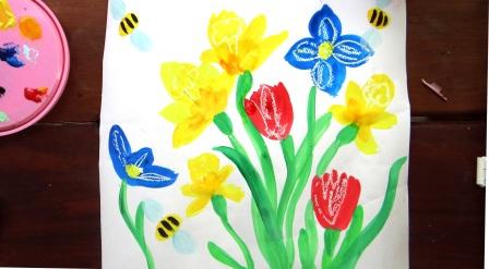 Поэтапное рисование для детей - Весенний букет (2)