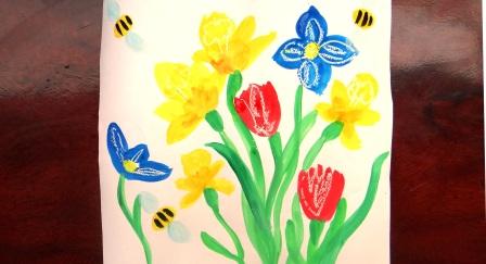 Поэтапное рисование для детей. Весенний букет