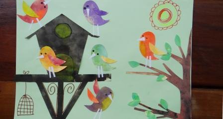 Весенняя аппликация - птички прилетели (2)