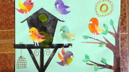 Весенняя аппликация с птичками