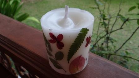 Декупаж свечей сухоцветами - МК (4)