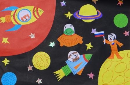 Поделка на День Космонавтики - аппликация космос (2)