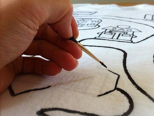 Нанесение рисунка на футболку для папы (3)