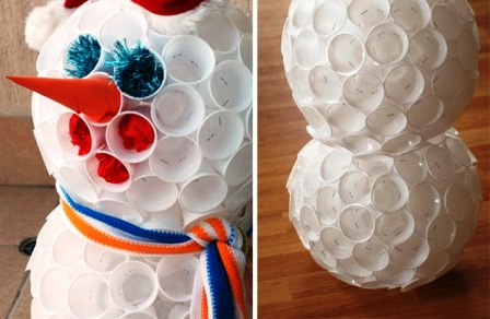 как сделать снеговика из стаканчиков (3)