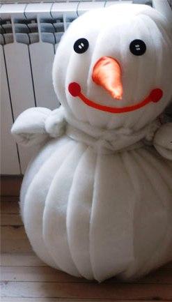 Как сделать объемного снеговика (10)