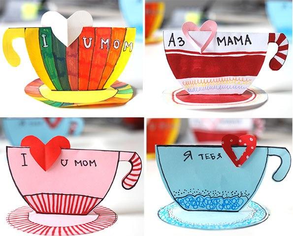 Поделка маме на 8 марта из бумаги – поделка чашка