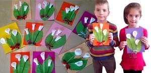 Поделка цветы из ватных дисков на 8 марта