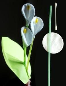 Поделка цветы из ватных дисков