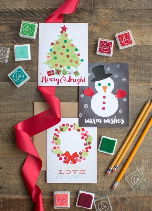 Детская поделка открытка на новый год