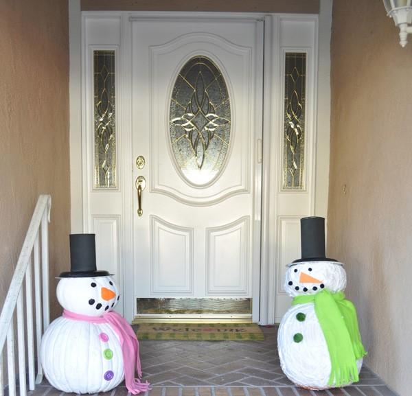 Поделки из тыквы: Снеговик
