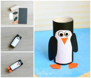 Пингвины из рулонов туалетной бумаги